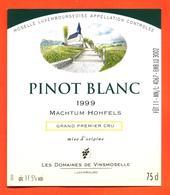 étiquette De Vin De Moselle Luxembourgeoise Pinot Blanc Machtum Hohfels 1999 Vinsmoselle - 75 Cl - White Wines