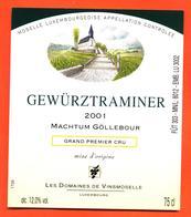 étiquette De Vin De Moselle Luxembourgeoise Gewurztraminer Machtum Gollebour 2001 Vinsmoselle - 75 Cl - White Wines