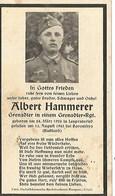 Sterbebild ,carte De Décès Grenadier 19 Ans , Russie 1943 . DEATH CARD . - 1939-45