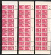 1664** Becquet 0.50 Rouge 3 Bdes Phospo 26 ème Tirage TD6-4 En Bloc De 20 Dont 1 Avec RE. - Dated Corners