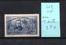 MAURY N° 402  NF Avec Trace De Charnière  N° 37 - Marcophilie (Timbres Détachés)