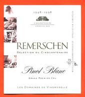 étiquette De Vin De Moselle Luxembourgeoise Pinot Blanc Remerschen 1997 - Vinsmoselle - 75 Cl - White Wines