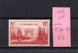 MAURY N° 403  NF Avec Trace De Charnière  N° 38 - Marcophilie (Timbres Détachés)