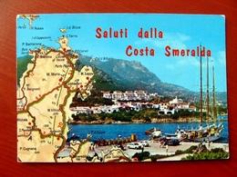 (FG.V29) Saluti Dalla COSTA SMERALDA - PORTO CERVO, CARTINA PIANTINA (SASSARI) Viaggiata 1974 - Sassari