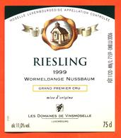 étiquette De Vin De Moselle Luxembourgeoise Riesling 1999 Wormeldange Nussbaum - Vinsmoselle - 75 Cl - White Wines