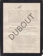 Doodsbrief Oscar De DIEUDONNE °1846 Leuven †1875 Domein Van Hottat, Korbeek-Lo - Lovenjoel (H213) - Overlijden