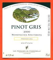 étiquette De Vin De Moselle Luxembourgeoise Pinot Gris 2000 Remerschen Kreitzberg - Vinsmoselle - 75 Cl - White Wines