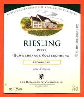 étiquette De Vin De Moselle Luxembourgeoise Reisling 2001 Schwebsange Kolteschberg - Vinsmoselle - 75 Cl - White Wines