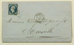 LAC 1857 Constantine --> Marseille, Affr. 20 C, Losange PC 3721 - Marcophilie (Lettres)