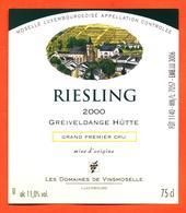 étiquette De Vin De Moselle Luxembourgeoise Reisling 2000 Greiveldange Hutte - Vinsmoselle - 75 Cl - White Wines