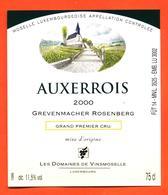 étiquette De Vin De Moselle Luxembourgeoise Auxerrois 2000 Grevenmacher Rosenberg - Vinsmoselle - 75 Cl - White Wines
