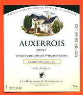 étiquette De Vin De Moselle Luxembourgeoise Auxerrois 2001 Stadtbredimus Primerberg - Vinsmoselle - 75 Cl - White Wines