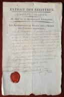 Armée Des Pyrénées Orientales . Ampliation De Nomination 1794 Adjudant Général Bernard Daoust 22e Chasseurs à Cheval - Documenten