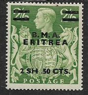 British Occupation Of Italian Colonies, 1948, 2sh 50cts, Misplaced Stop, MH * - Eritrea