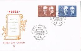 35505. Carta F.D.C. OSLO (Norge) Noruega 1968. NOBEL Fredspris, Premios Nobel Bajer And Arnoldson - FDC