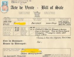 FISCAUX DE MONACO SERIE UNIFIEE  N°90 2F BLEU ET ORANGE SUR BILL OF SALE D'UN VOILIER LE 16 AVRIL 1992 - Fiscale Zegels