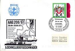 "(FC-3) BRD Cachet-Umschlag Bundesmarine ""5. SCHNELLBOOTGESCHWADER AAG 206/97"" EF BRD Mi1903 SSt 5.5.97 KIEL 1 - [7] Federal Republic"