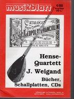 Revue De Musique -  Musikblatt N° 4 - 1988 - Hense-quartett - Musique