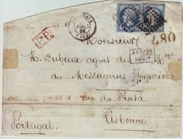 N° 14 Obl BORDEAUX 1861 Lettre Pour Le PORTUGAL , TAXE 480 TAMPON à L'arrivee ... Manque Au Dos - Marcophilie (Lettres)
