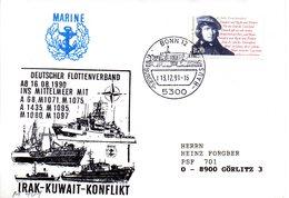 """(FC-3) BRD Cachet-Umschlag Bundesmarine """"DEUTSCHER FLOTTENVERBAND IM MITTELMEER"""" EF BRD Mi1555 SSt 13.12.1991 BONN 12 - [7] Federal Republic"""