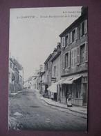 CPA 71 LA CLAYETTE Grande-Rue Quartier De La Poste ANIMEE CAFE DE LA POSTE RARE PLAN Usures Au Dos - Autres Communes