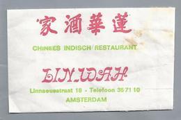 Suikerzakje.- AMSTERDAM. Chinees Indisch Restaurant - LIN WAH -. Linneausstraat 18. Suiker Sucre Zucchero Zucker Sugar - Suiker