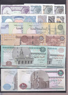 EGYPT 5 10 25 50 PT. 1 5 10 EGP POUNDS 1982 2017 P-50 63 64 70 71 SET 17 UNC LOT - Egypt