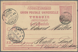"Holyland: 1897, Holy-Land: ""JAFFA"" Black Negative Seal On Ottoman Stationery-card 20 Pa.via Port-Sai - Palästina"