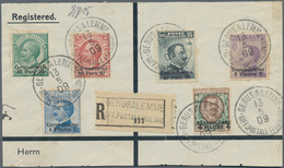 """Holyland: 1908, Registered Part Of A Large Cover Bearing Short Set Of Six Values Tied By """"GERUSALEMM - Palästina"""