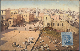 "Holyland: 1910, Postcard Bearing 1 Pia. On 25 C. Blue On Front Tied By ""GERUSALEMME 25/3/10 UFF. POS - Palästina"