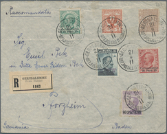 Holyland: 1911, Registered Cover Bearing Six Values Mixed Franking Jerusalem Issue And Levant Stamp - Palästina
