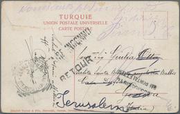 "Holyland: 1911, Postcard Bearing Turkey 20 Para On Front Tied By Bilingual ""JAFFA"" Cds., Addressed T - Palästina"