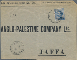 """Holyland: 1913, Commercial Cover Of The """"ANGLO PALESTINE COMPANY"""" Bearing 1 Pia. On 25 C. Blue Tied - Palästina"""
