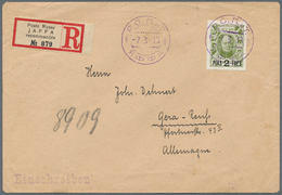 """Holyland: 1913, 2 Pia./20 K. Tied Violet """"ROPIT JAFFA -7 3 13"""" To Registered Cover To Germany, On Re - Palästina"""