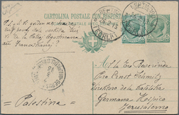 Holyland: 1913, Italy Postal Stationery Reply Card 5c. Green + 10c. Red Used Uprated With 5 C. Green - Palästina