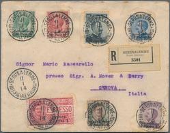 Holyland: 1914, Registered Express Cover Bearing Six Values Mixed Franking Jerusalem Issue And Levan - Palästina