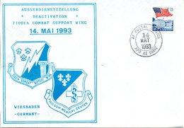 """(FC-3) US Sonder-Umschlag """"DEACTIVATION"""" 7100th COMBAT SUPPORT WING WIESBADEN"""" EF US TSt. 14.MAY1993 AF POSTAL SERVICE - [7] Federal Republic"""