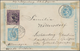 "Korea: 1901, Card 1 Ch. Light Blue, ""cheonhwan-kuk"" Bottom Imprint, Uprated Ewha 2 Ch. And 3 Ch./50 - Korea (...-1945)"