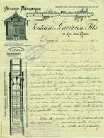 """Facture Decorative 1901 Dijon ( Cote D'Or ) """" FONTAINE-SOUVERAIN Atelier Pour Bois Decoupes & Menuiserie Artistique """" - Transportmiddelen"""