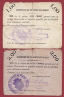 Belgique 2 Bons --1.00 Et 2.00 Francs- Du 08/12/1914 Commune De Comines Dans L 'état - Monétaires / De Nécessité