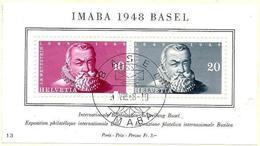 Schweiz Suisse 1948: IMABA Zu WIII31 Mi Block 13 Yv BF 13 Mit Sonder-o BASEL 26.VIII.48 (Zu CHF 100.00) - Blocs & Feuillets