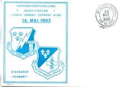 "(FC-3) US Sonder-Umschlag ""DEACTIVATION"" 7100th COMBAT SUPPORT WING WIESBADEN"" Blanco  TSt. 14.MAY1993 AF POSTAL SERVICE - [7] Federal Republic"