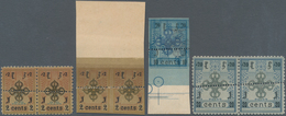 Mongolei: 1924 Two Pairs Of 2c., One Perf, The Other Imperf With Huge Sheet Margin At Top, A Bottom - Mongolei
