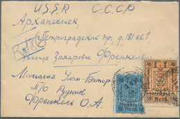 """Mongolei: 1926/29, 20 Mung And 50 Mung Tied """"ULANTOMIN... 12 3 31"""" To Registered Cover To USSR With - Mongolei"""