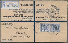 Palästina: 1925, Small Size Registered Provisional Envelope Franked With Vertical Pair 13m. Ultramar - Palästina