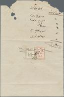 """Palästina: 1933, """"LAND COURT JAFFA"""" Trilingual Violet Mark On Fold Receipt With Revenue Stamps Hejaz - Palästina"""