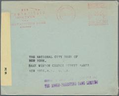 Palästina: 1940, Cover Tel Aviv METER MARK 15 M. 21.VII 40 Anglo-Palestine Bank To USA, With Censors - Palästina