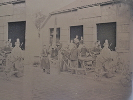 GRANDE PLAQUE PHOTO STEREO AMIENS BEAUVAIS FORGERON FABRIQUANT MACHINES AGRICOLES  MARECHAL FERRANT HENRY FRERES 807 - Photos Stéréoscopiques