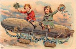 CPA Fantaisie - Bonne Année - Enfant - Dirigeable - Liserets Dorés - Nouvel An
