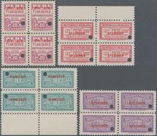 Thematik: Medizin, Gesundheit / Medicine, Health: 1940/1945 (ca.), PERU: Four Revenue Stamps 'TIMBRE - Medizin